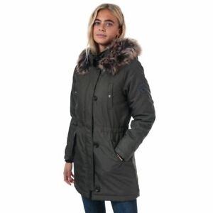 Women-039-s-Only-Iris-hiver-Full-Zip-Capuche-fixe-Parka-Veste-En-Vert