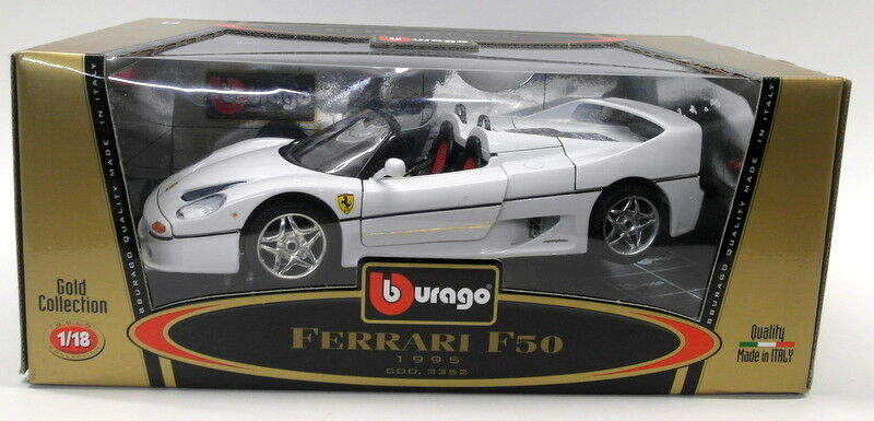 Burago 1 18 Scale Diecast 3352 Ferrari Ferrari Ferrari F50 1995 Congreenible White Model Car 8688cf