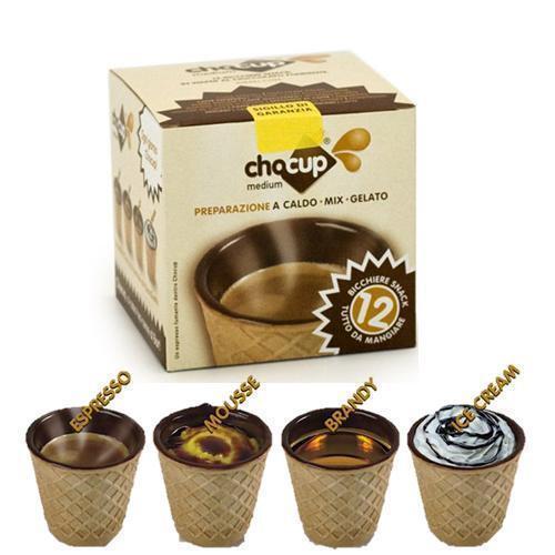 12 Chocup, Mini Vaso Taza Waffle Chocolate para Café, Chocolate