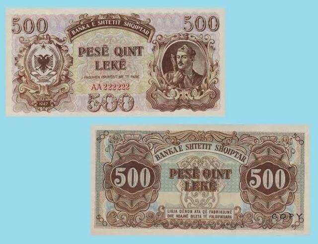Albania 500 Leke 1947.  UNC - Reproductions