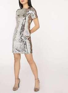 Dorothy-Perkins-Petite-Metallic-Sequin-Shift-Dress-Size-10-BNWT-RRP-55-Silver