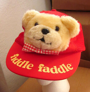 2051b536a4c39c FIDDLE FADDLE vtg trucker cap 1986 teddy-bear weird plush snapback ...
