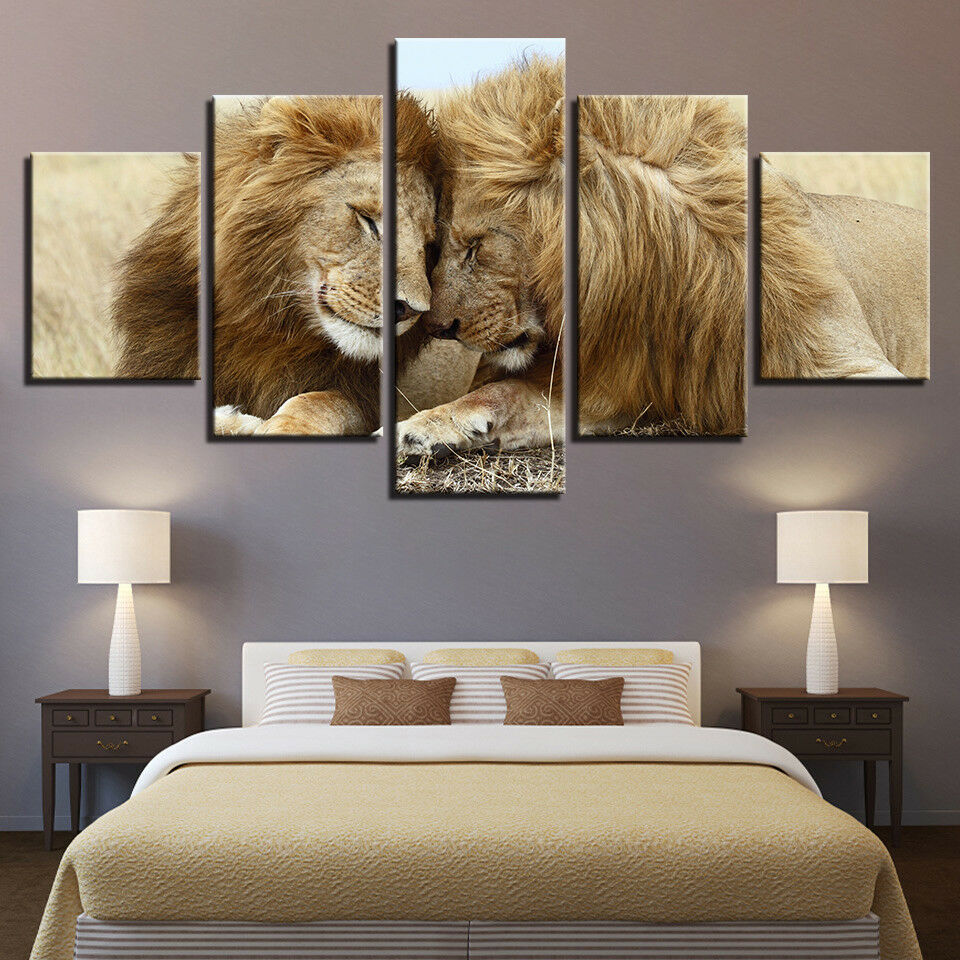 Lion Couple Loving Wild Animal Poster 5 Panel Canvas Print Wall Art Home Decor