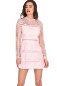 Ax Paris Women Tiered Mini Dress Crochet Lace Long Sleeve High