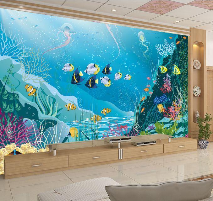 3D Cartoon Ocean World Paper Wall Print Decal Wall Wall Murals AJ WALLPAPER GB