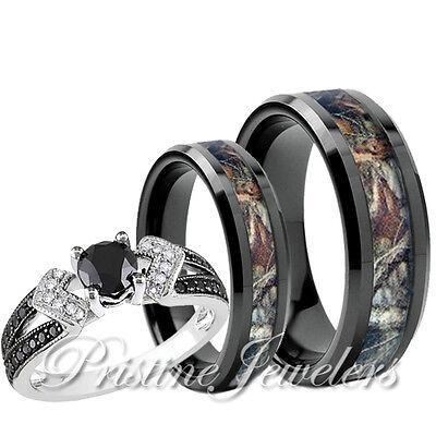 Women Solitaire Sterling Silver Ring Mens Titanium Oak Forest Camo Band 2pc SET