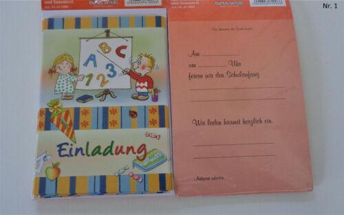 Einladungen Schulanfang mit Umschlägen 5 Einladungskarten zur Einschulung