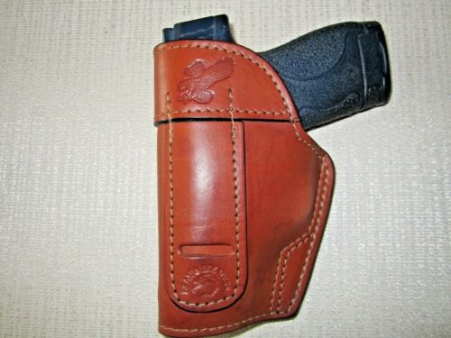 S/&W M/&P SHIELD 9MM /& 40 CAL IWB,OWB,SOB,BROWN leather ambidextrous holster