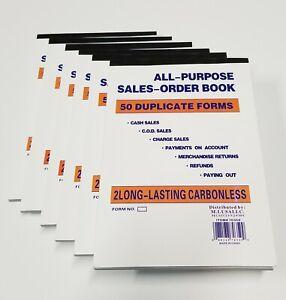 6 Pcs 2 Part Invoice Books Carbonless Receipt Forms 50 Sets Sales Order