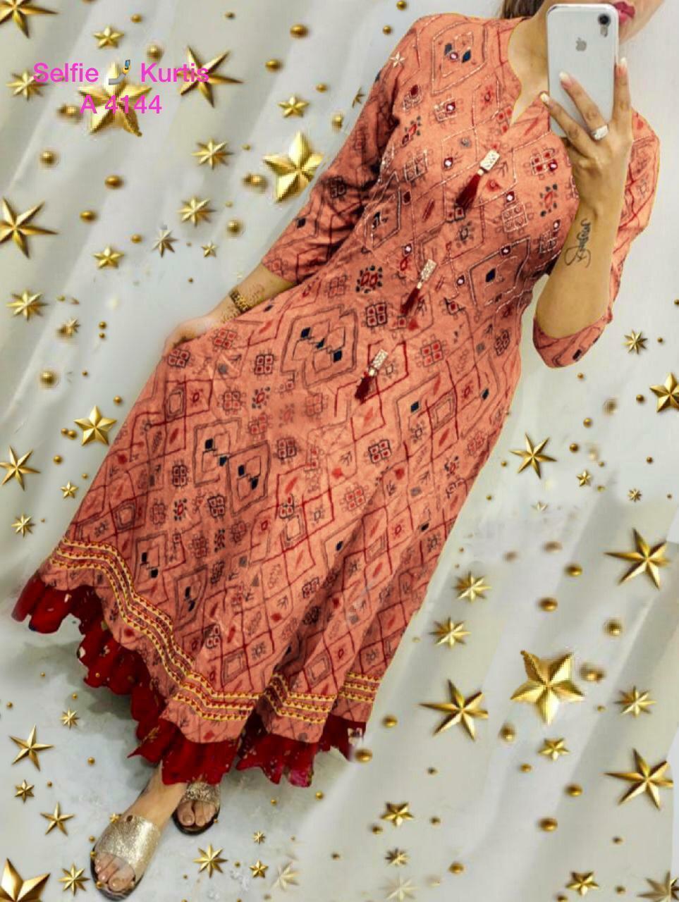 New Latest Designer Cotton Flex With Tassels Long Kurtis Festival Occasion Wear