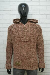 Maglione-con-Cappuccio-Uomo-YELL-Taglia-L-Felpa-Sweater-Man-Cardigan-Pullover