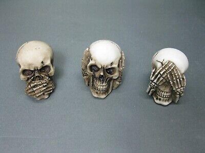 Motiviert Set Von 3 Stück Totenkopf Skull Briefbeschwerer 6cm Paperwight Nichts Sehen