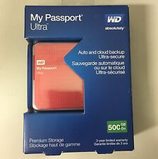 Western Digital My Passport Ultra 500 GB Portable USB 3.0 Hard Drive Red