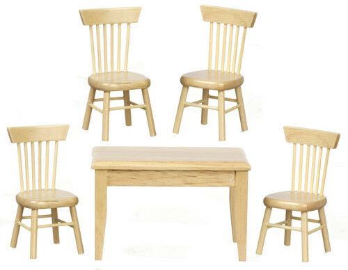 Dolls House Miniatures Furniture 1.12 Scale Table /& Four Chairs Bare Wood