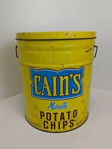 Vintage-CAIN-039-S-POTATO-CHIPS-3-Pound-Can-Advertising-Storage-Tin-14-034-X-12-034