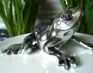 Frosch-Kroete-Silber-Statue-Figur-Skulptur-Frog-Kunstharz-Vintage-Dekoration