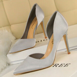 Women-Shoes-Pumps-High-Heels-D-039-Orsay-Pointed-Toe-Shallow-Stiletto-Party-Sandals