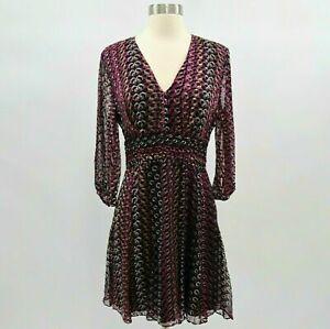 DvF Diane von Furstenberg A-Line Dress Womens Sz 8 Silk Blend Purple Leo V-Neck