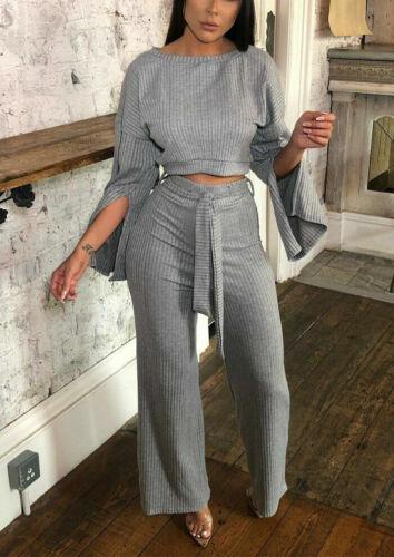 Femme Femmes Crop Top Fente Pull Cravate Wide Leg Palazzo Trouser Co-Ord Robe Set