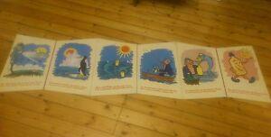 Vtg-School-Poster-XL-Book-1950s-60s-Nursery-Education-Retro-Art-Design-German