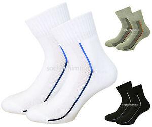 Athletic Socks 6 Pack for Mens - Short Cut Crew Socks - terry cushion sole 7-11