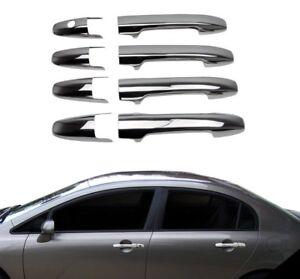 2006-2011-Honda-Civic-Cubierta-Manija-de-la-puerta-de-cromo-4-Puertas-Acero-Inoxidable-De-Acero