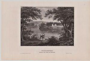 Wilhelmsthal-bei-Eisenach-Schlosspark-Original-Stahlstich-1850