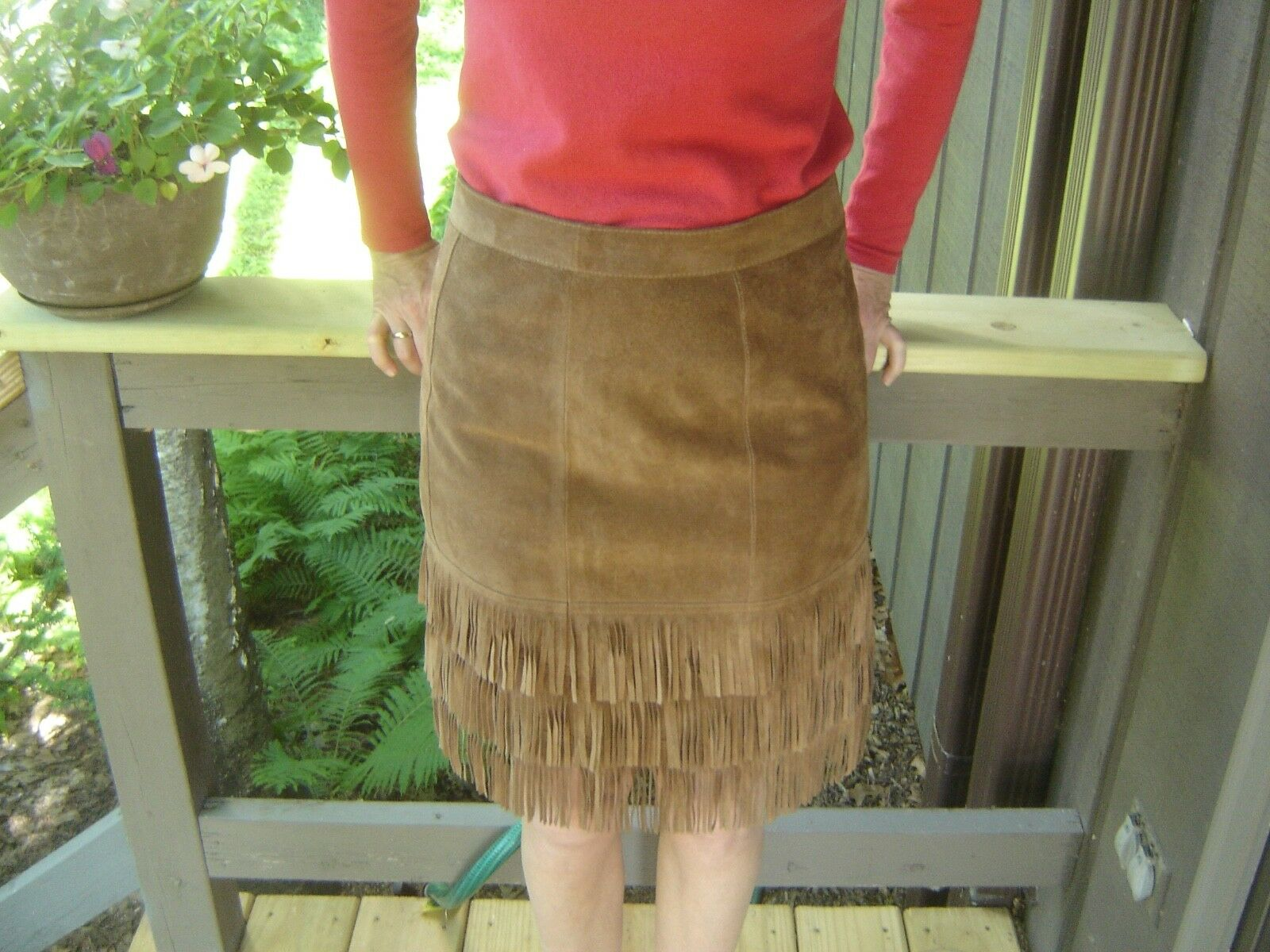 Ralph Lauren Sport skirt, brown suede leather, 3 row fringes, earthing, size 4