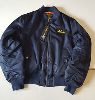 Avirex U.s.a Blue Nylon Flight Bomber Jacket W Orange Lining Style M-1945-87