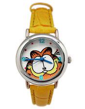 New Garfield Cat Girl Wrist watch w/ yellow leather band