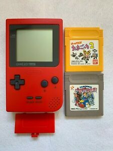 Nintendo-GameBoy-Pocket-Console-Red-amp-2-games-set-Parodius-Tamagocchi-2