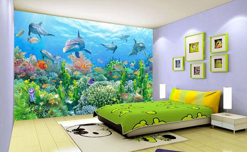 3D Delphin Korallenfische 85 Tapete Wandgemälde Tapete Tapeten Bild Familie DE