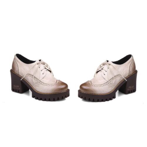 Women/'s cubain Block Talons Chaussures à Lacets Effet Vieilli Chaussures rétro grosses Derbies