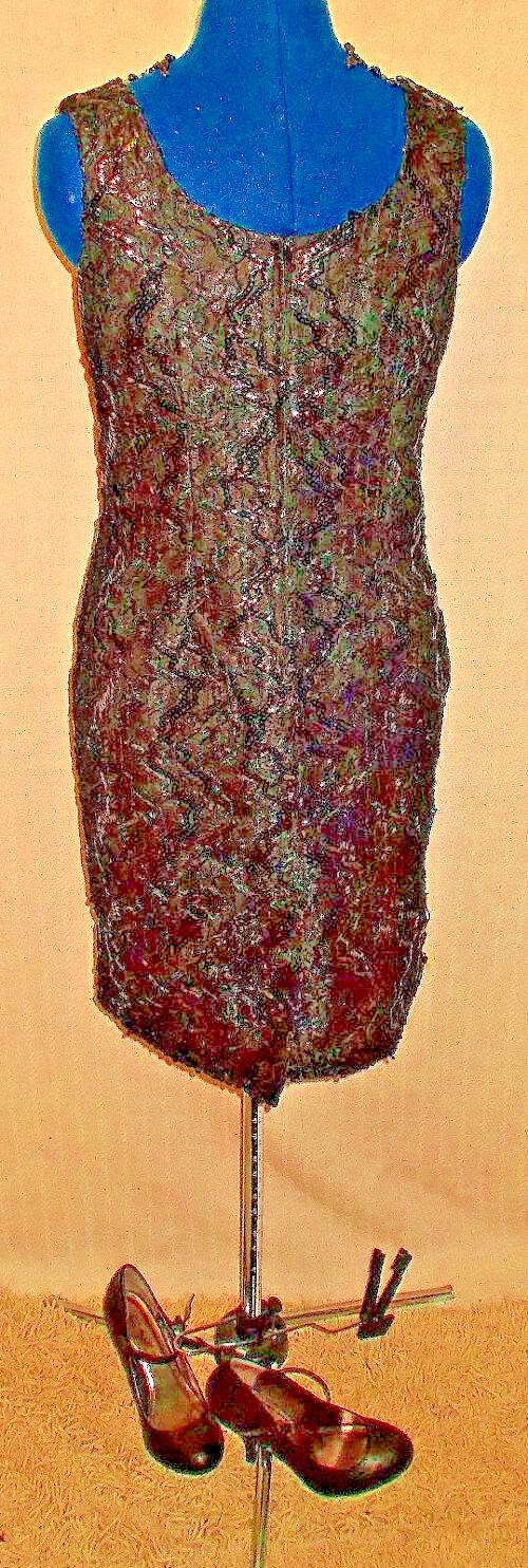 Exquisite Vintage schwarz Lace & Beadwork texturot dress. Größe 10-