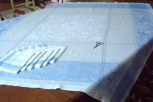 Damask-WHITE-amp-BLUE-Mythological-Angels-Cherubs-Table-Cloth-6-Napkins-Vintage
