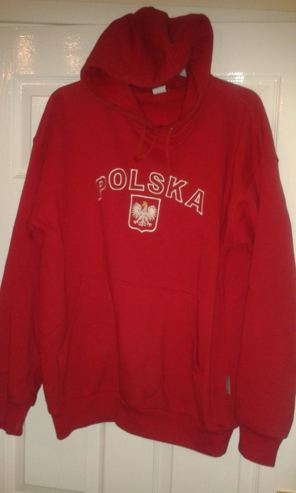 Mens Hooded Jumper - Poland Hoodie - Polska - Red With White - Size L