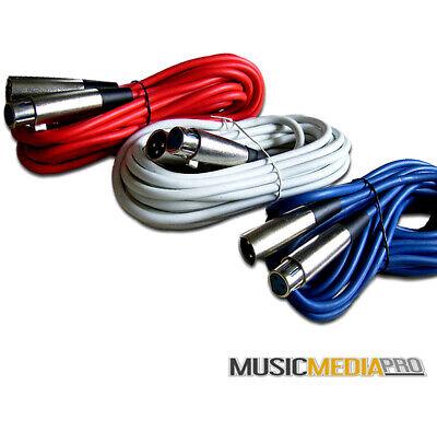 3X 6m Blue XLR-JACK 6.35mm Mic Microphone Lead Cable Stage DJ Karaoke Schools