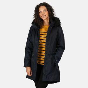 Regatta-Womens-Lexis-Waterproof-Insulated-Fur-Trim-Hood-Parka-Jacket-Blue-Navy