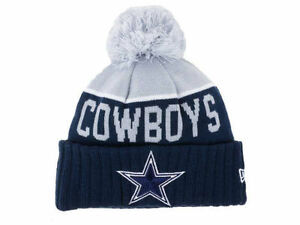 b1e052f7171 Official 2015 NFL Dallas Cowboys New Era Cuffed Knit Beanie Pom Hat ...