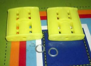 """NOS Vintage Canary Yellow Plastic Tricycle Pedal Car Pedals w/ 7/16"""" Pedal Holes"""