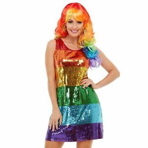 Ladies-Pride-Glitter-Rainbow-Sequin-Dress-Festival-Multicolour-Disco-Rave-Shift