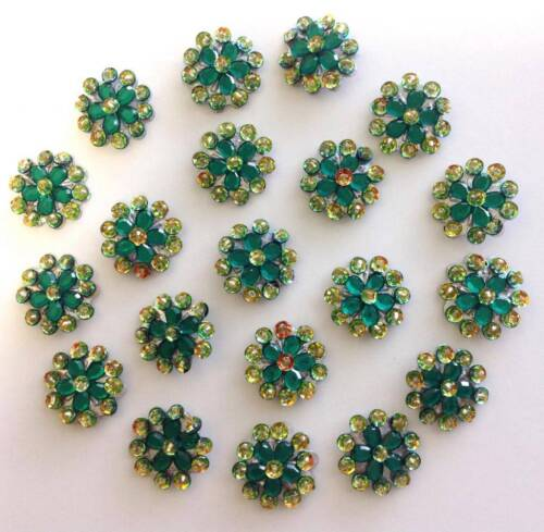 50 Green Flower Embellishments to Stick or Sew on Fabric or Card
