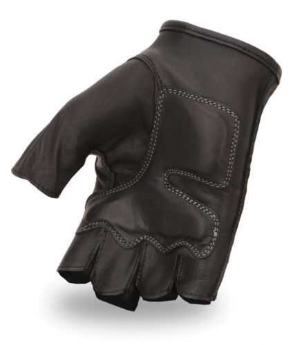 Black Flame Embroidered Fingerless Glove w// Gel Palm 166GEL-SH198