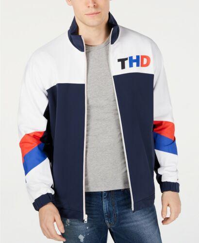 Tommy Hilfiger Denim Men/'s Blue//White Xavi Colorblock Full Zip Track Jacket