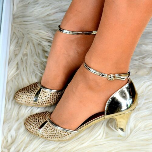 Womens Sparkly Low Mid Heel Shoes Ankle strap Party Wedding Full toe Sandals