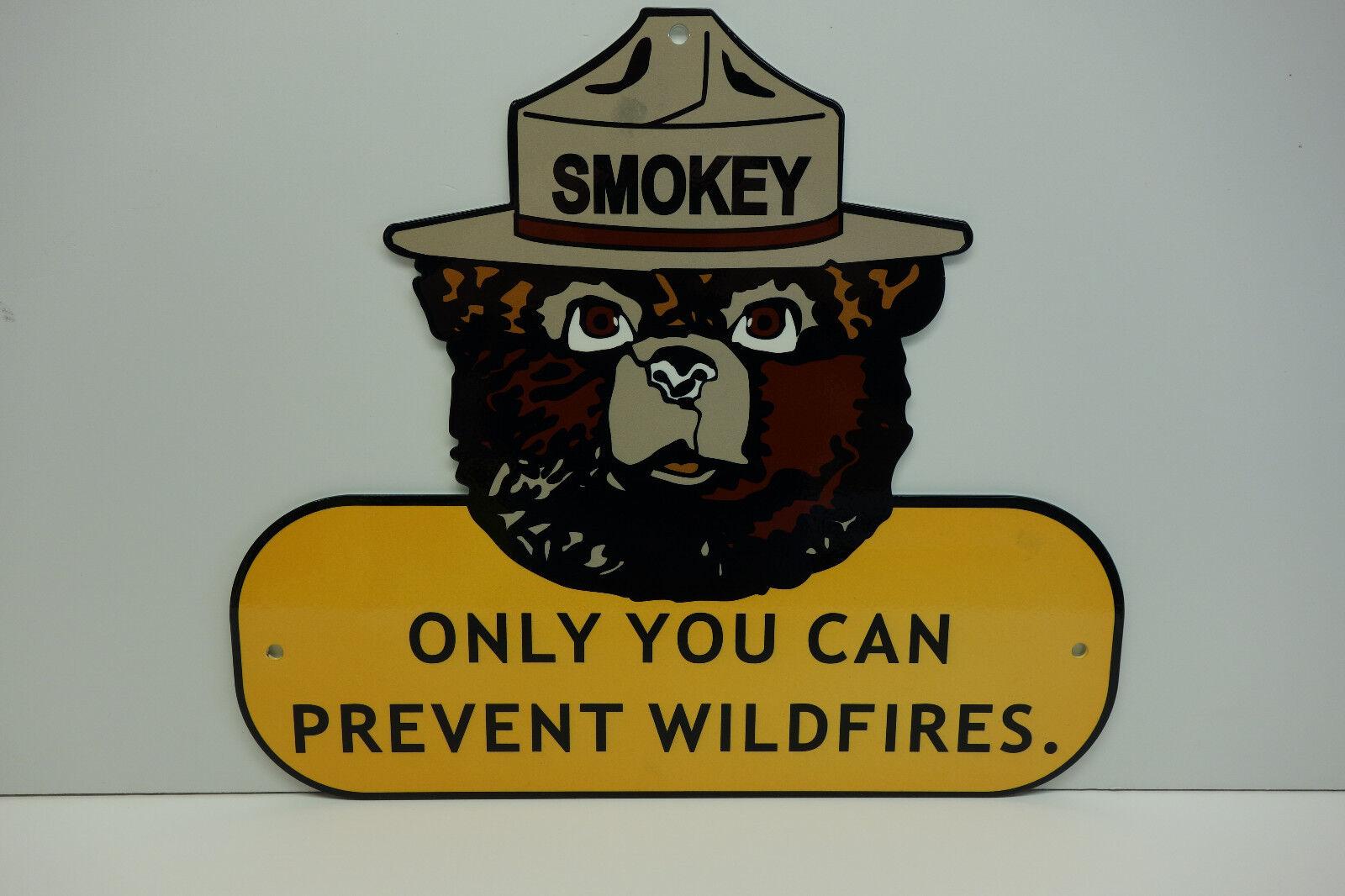 SMOKEY BEAR 1 8  Metal Pesado Esmalte solamente puedes prevenir incendios forestales 12 X 14