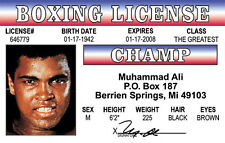 Muhammad Ali novelty plastic collectors card Drivers License Cassius Clay Boxer