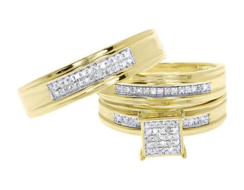 Yellow Gold Finish Mens Ladies Round Pave Diamond Trio Wedding Ring Set 0.50 ct