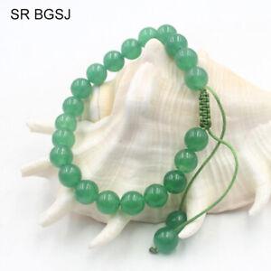 Bracelet with Natural Gemstone Agate Green 8mm Bead Macrame Healing Reiki UKsel