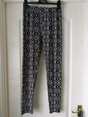 Women's Clothing Leggings Black/white Printed Leggings Size L/xl Bnwot Excellent In Cushion Effect